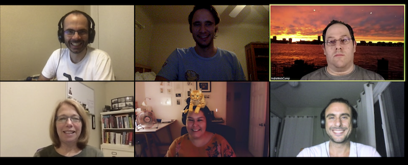 Screenshot of participants in tonight's Homebrew Website Club.