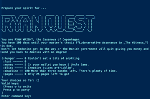 Title screen of the original prototype for Ryan Quest. The prompt reads: 'You are RYAN WRIGHT, the Casanova of Copenhagen. You have 100 days until your master's thesis (Ludonarrative Assonance in _The Witness_) is due. Don't let hedonism get in the way or the Danish government will quit giving you money and send you back to America with no degree!' Below the prompt, the game measures Ryan's hunger, lust, money, time left before thesis deadline, and pages left to write.